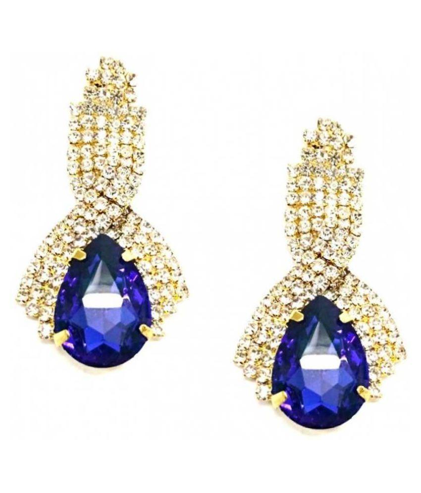 Zaffre Glam Blue Shine Earrings Alloy Dangle Earring