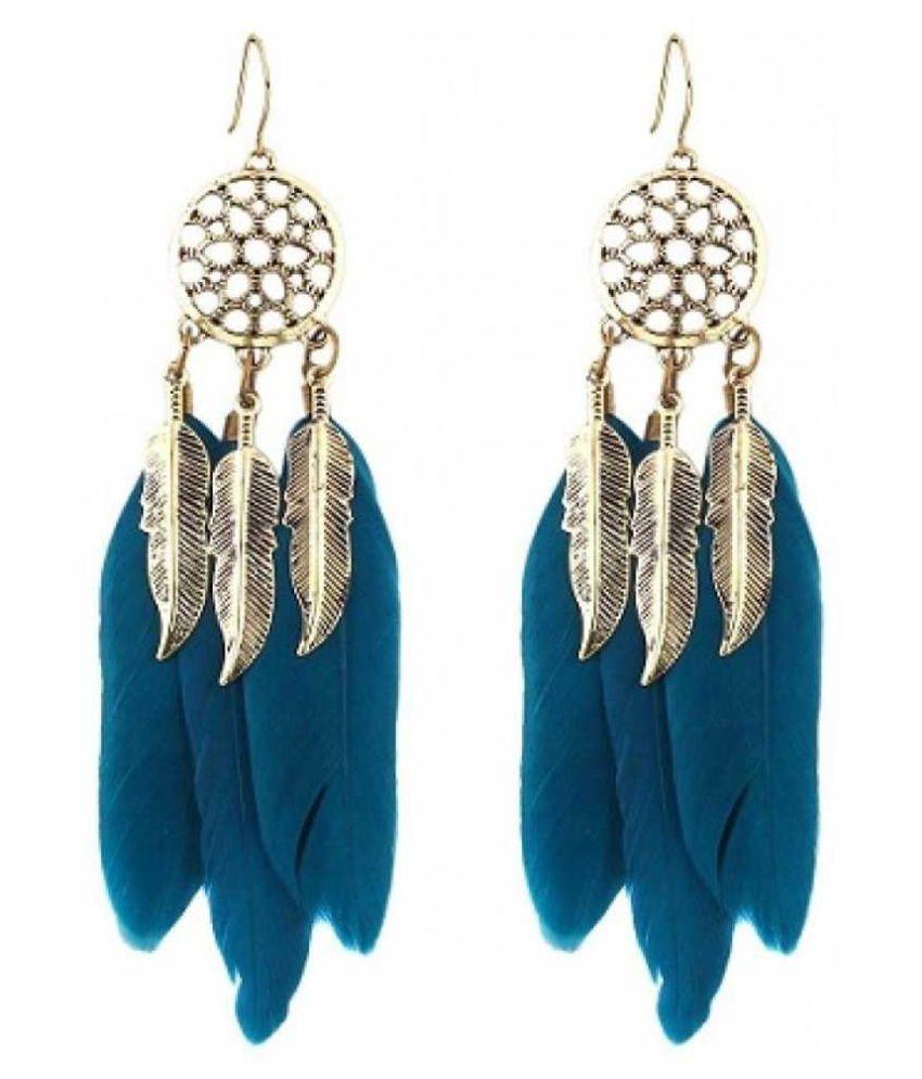 Zaffre Oblique Blue Feather Danglers Alloy Dangle Earring