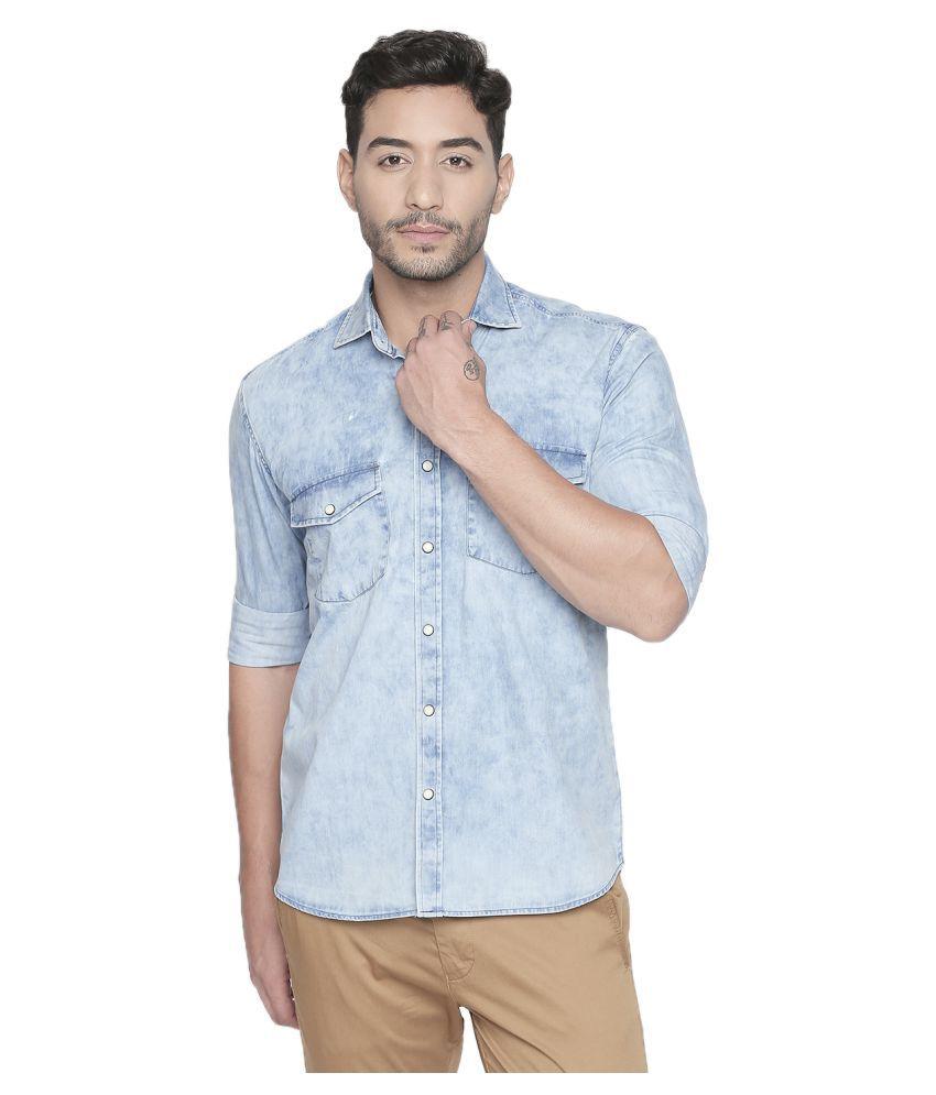 LION & HESS 100 Percent Cotton Blue Solids Shirt