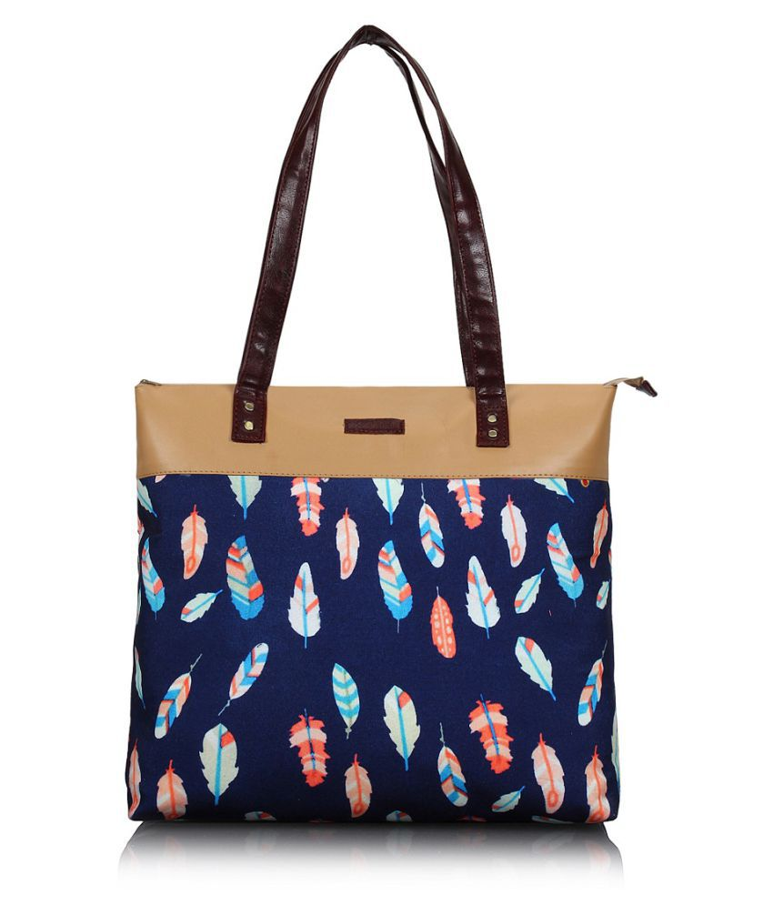 Lychee Bags Blue Canvas Tote Bag