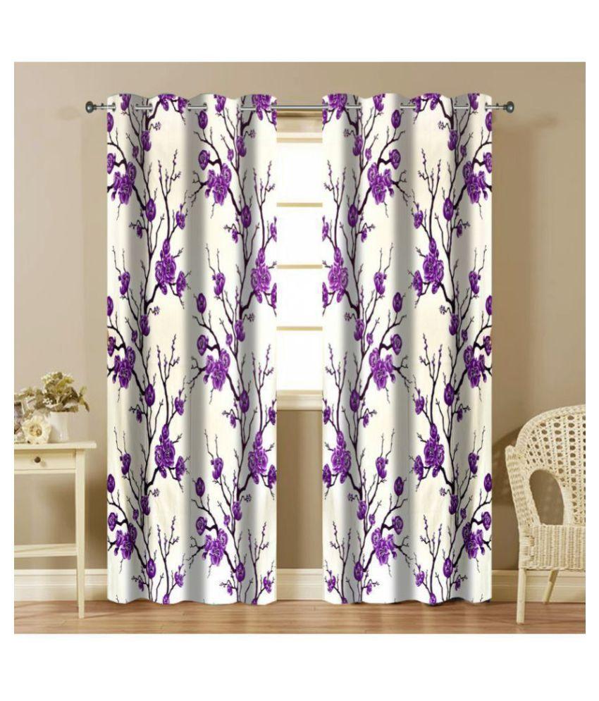 Shri Shyam Furnishing Set of 2 Window Semi-Transparent Eyelet Polyester Curtains Purple