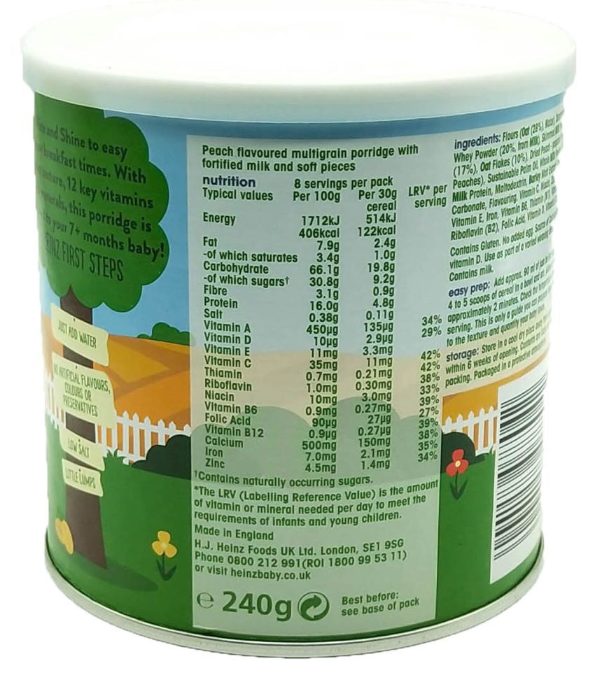 Heinz Peachy Porridge Infant Cereal For 6 Months + ( 240