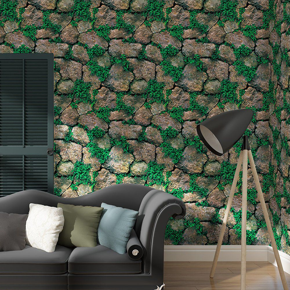 Jaamso Royals Green Well And Stone Wallpaper Self Adhesive