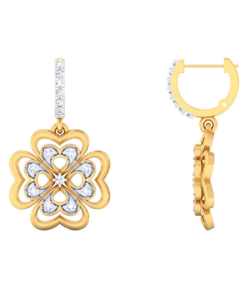 JewelKari.com 14k BIS Hallmarked Yellow Gold Diamond Hoop