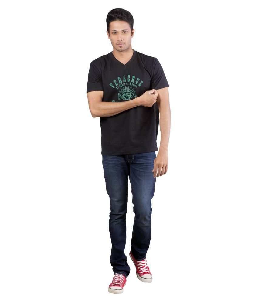 Avivee 100 Percent Cotton Black Printed T-Shirt