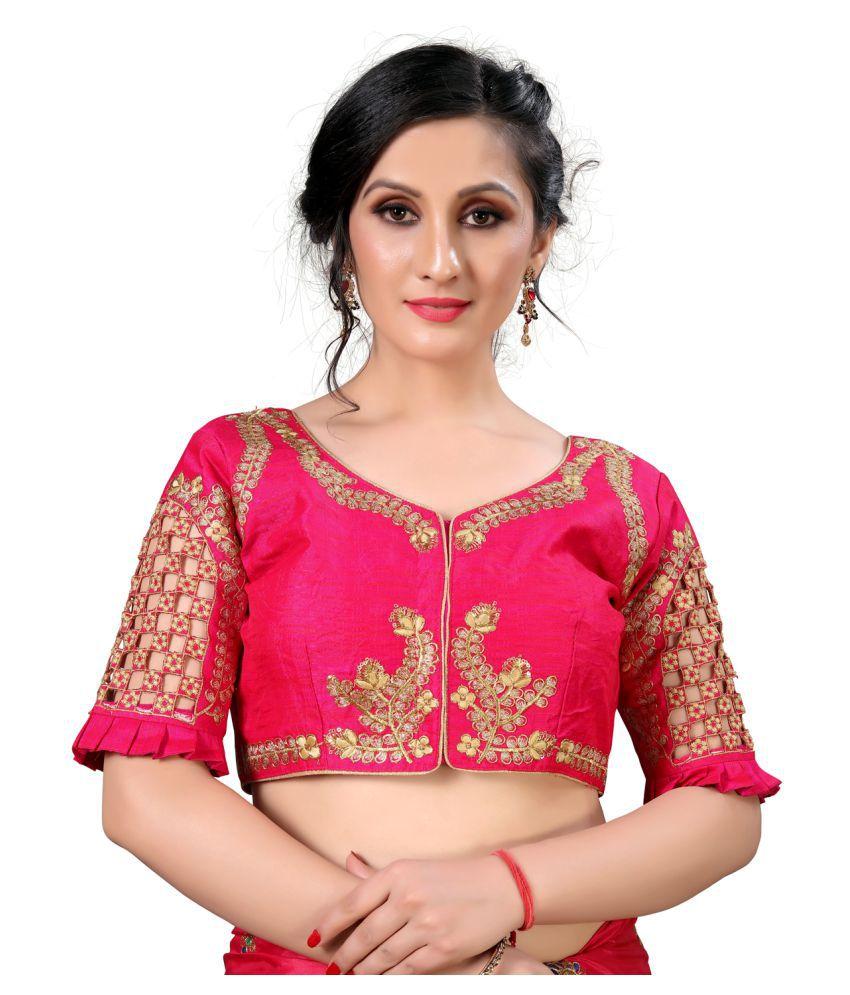 Amrutam Fab Pink Silk Semi Stitched Blouse