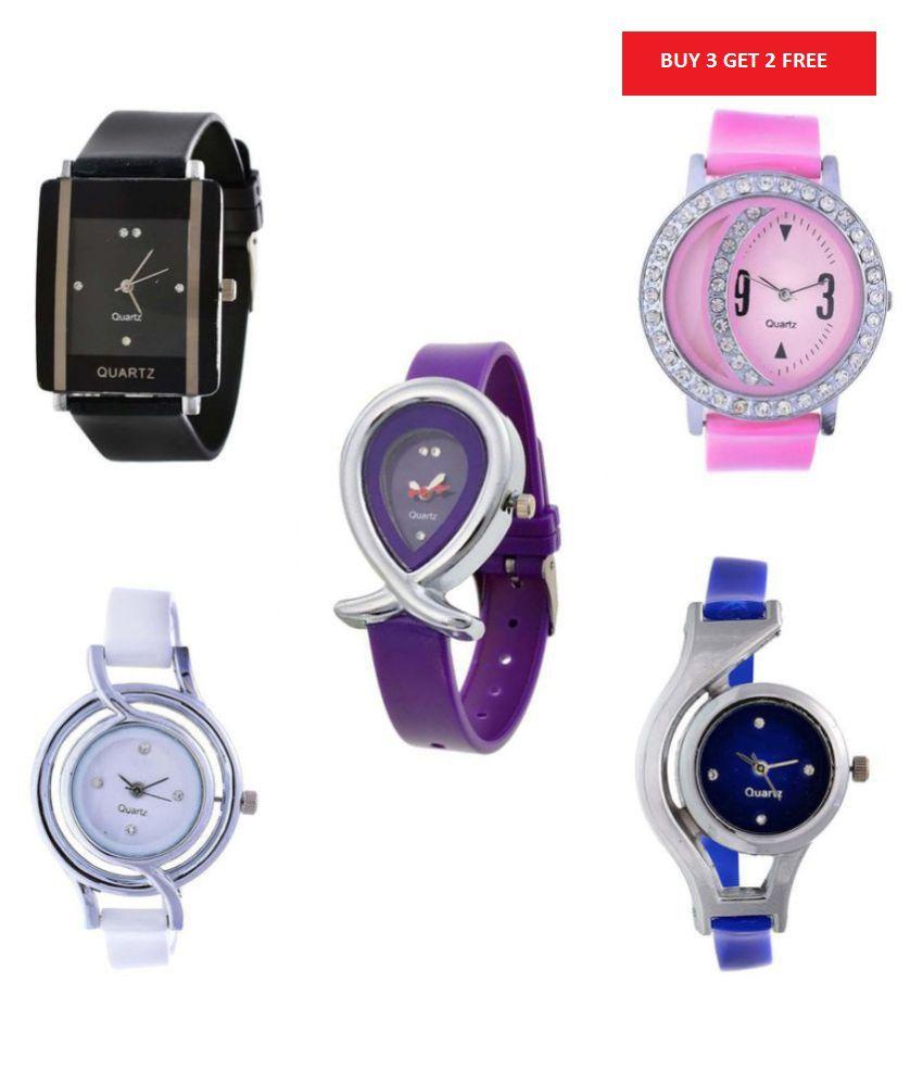 Aivor Multicolour Watch For Women- Buy 3 Get 2 Free