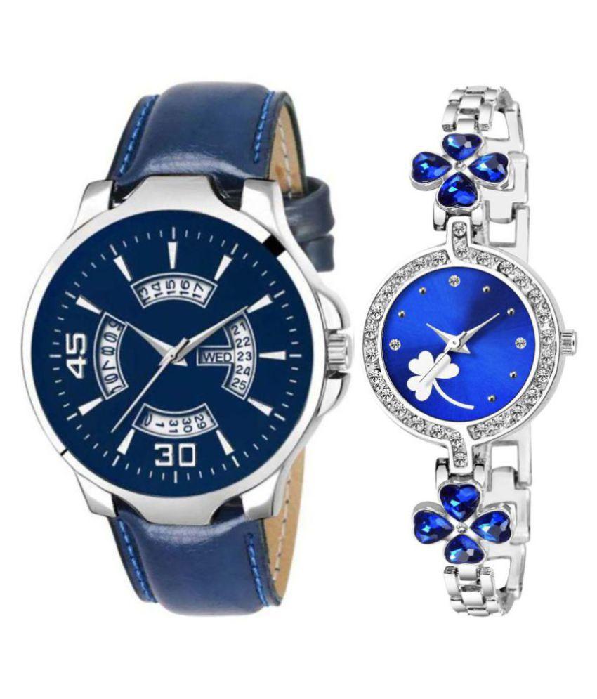 Herita Enterprise men and women analogue stylish fashionalble couple watch pack of 2 with 1364956694