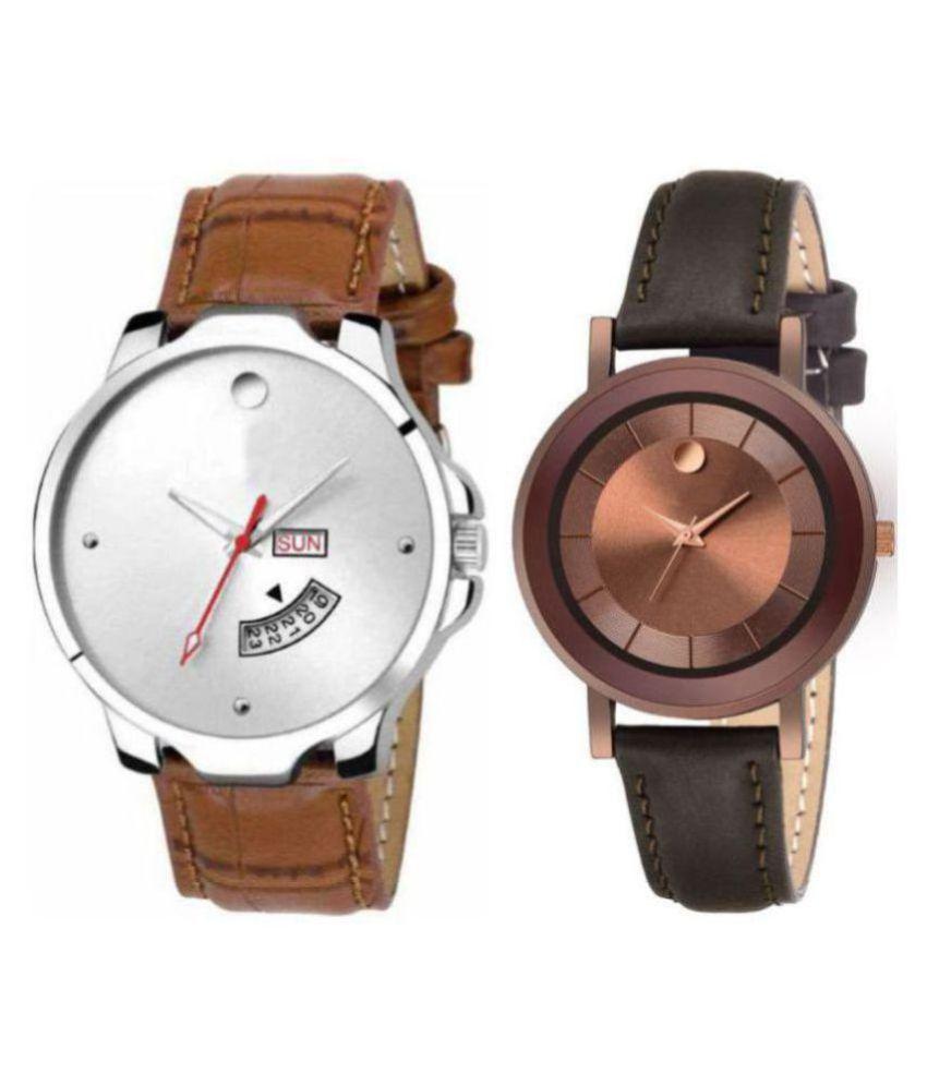 Herita Enterprise men and women analogue stylish fashionalble couple watch pack of 2 with 1364956620
