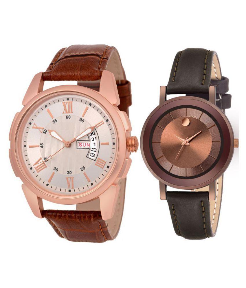 Herita Enterprise men and women analogue stylish fashionalble couple watch pack of 2 with 1364956601