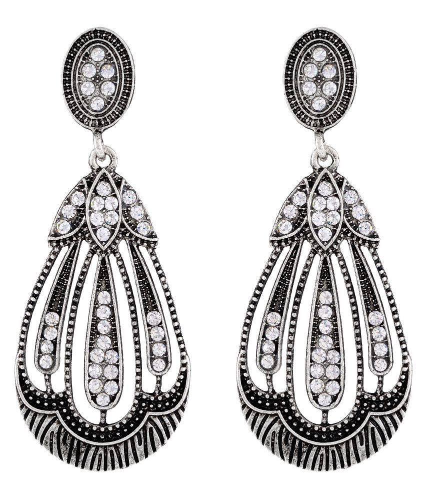 MFJ Fashion Jewellery Beautiful Brass Oxidised Plated Dangle Earring For Women