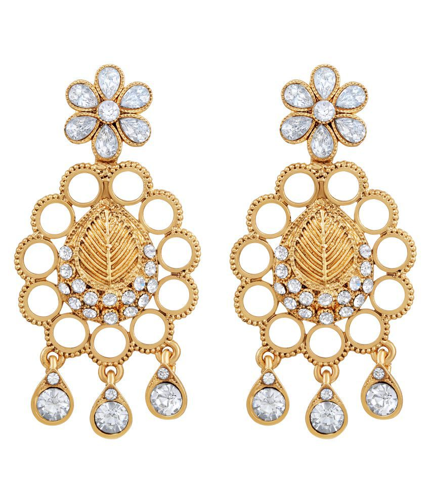MFJ Fashion Jewellery Fabulous Brass Gold Plated Dangle Earring For Women