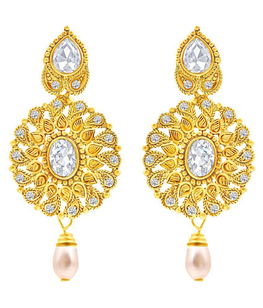 MFJ Fashion Jewellery Surprise Paisley Brass Gold Plated Dangle Earring For Women
