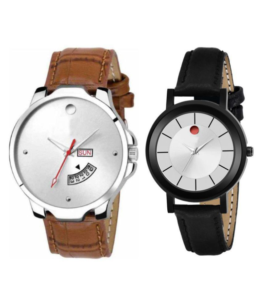 vasant impex men and women analogue stylish fashionalble couple watch pack of 2 with 1364956621