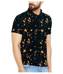 Veirdo 100 Percent Cotton Black Printed Polo T Shirt