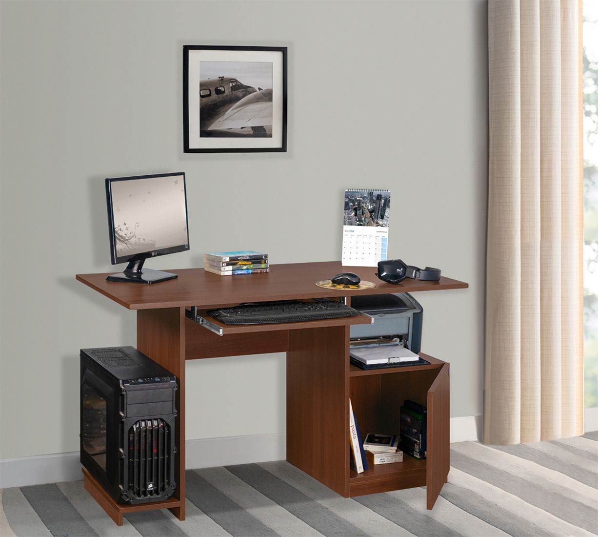 Wing Computer Table/Office Table  in Acacia Dark Colour by Delite kom