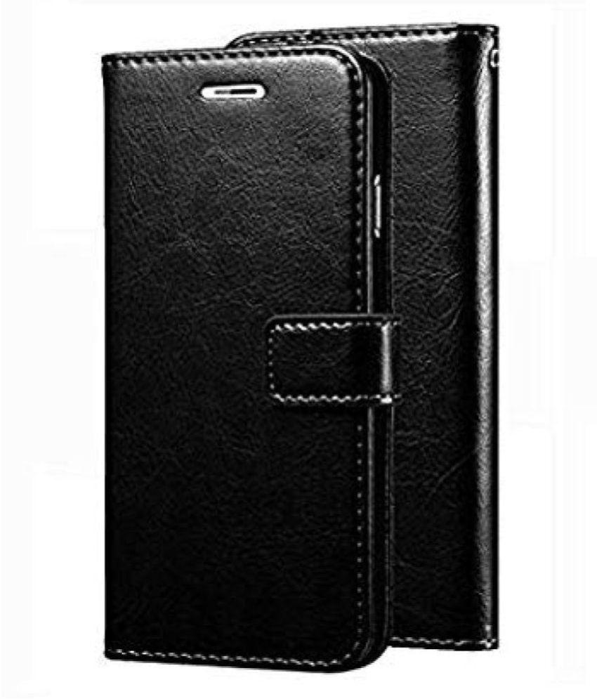 Realme 2 Pro Flip Cover by Kosher Traders - Black Original Vintage Look Leather Wallet Case