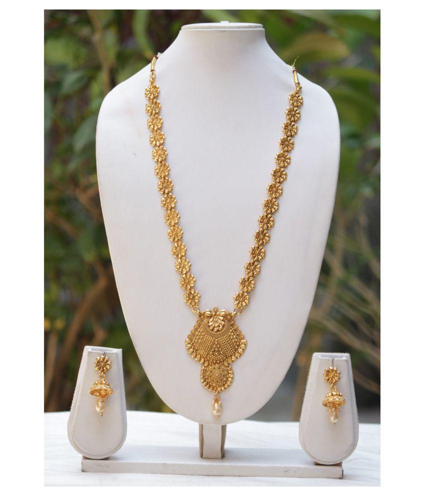 54d6742b3f Swarajshop Alloy Golden Choker Designer 14 kt Gold Plated Necklaces Set -  Buy Swarajshop Alloy Golden Choker Designer 14 kt Gold Plated Necklaces Set  Online ...
