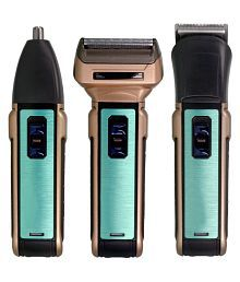 SJ 3 in 1 Rechargeable Shaver Ear Nose Mustache Beard Hair Trimmer Foil Shaver ( Golden & Blue )