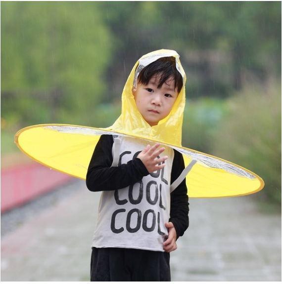 UFO Foldable Raincoat/Hat Umbrella for Rain (Blue, S)