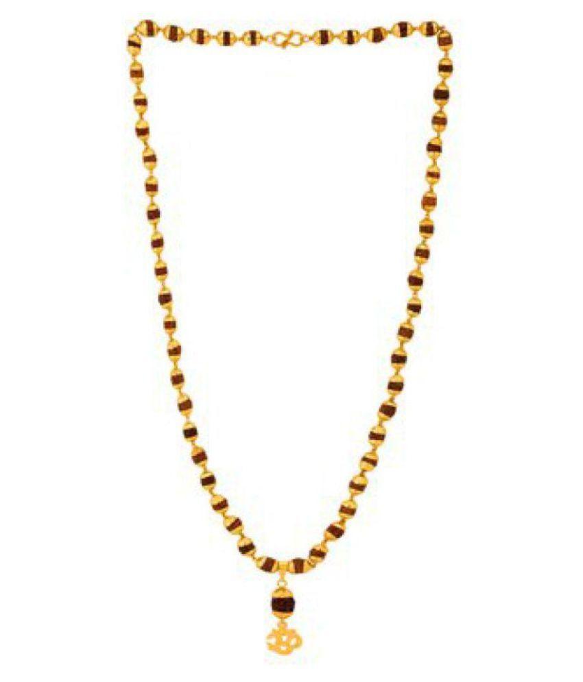 Green Spiritual Onnet Gold Plated Rudrasha Mala With Om Rudraksha Pendant in 7mm Beads