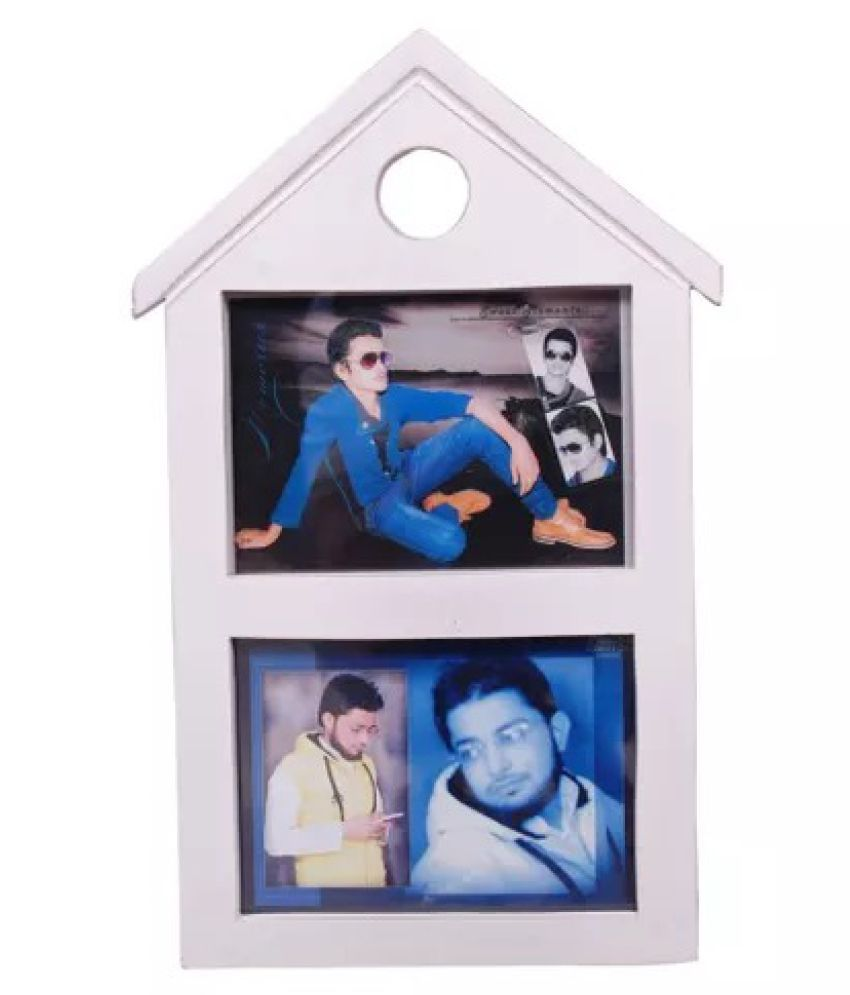 Onlineshoppee Wood Wall Hanging White Collage Photo Frame - Pack of 1