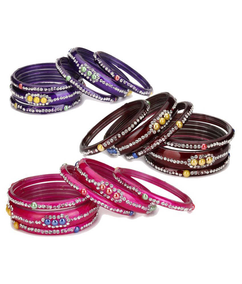 AFAST Glass Bangle Cum Kada Ornamented With Colorful Chips Set Of Three Matching And Trendy Color(Six Piece Each Color)-co34
