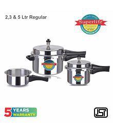 Superlife 5 L,2 L,3 L Aluminium Pressure Cooker Combo Gas Stovetop Compatible