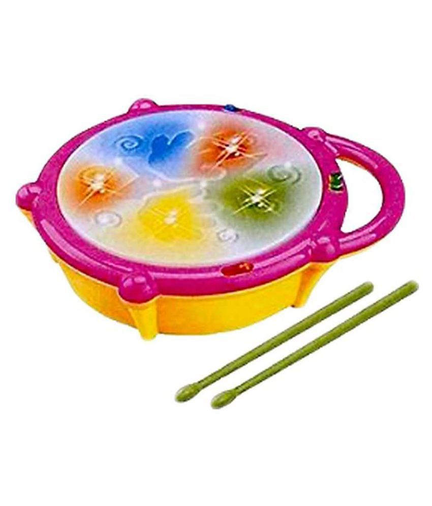 Battery Operated Educational Musical Flash Drum with 3D Lights and Sticks