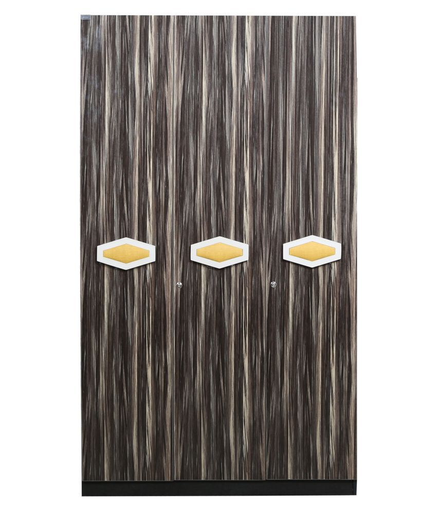 Honeycomb Three Door Wardrobe In Brown Colour By Parin