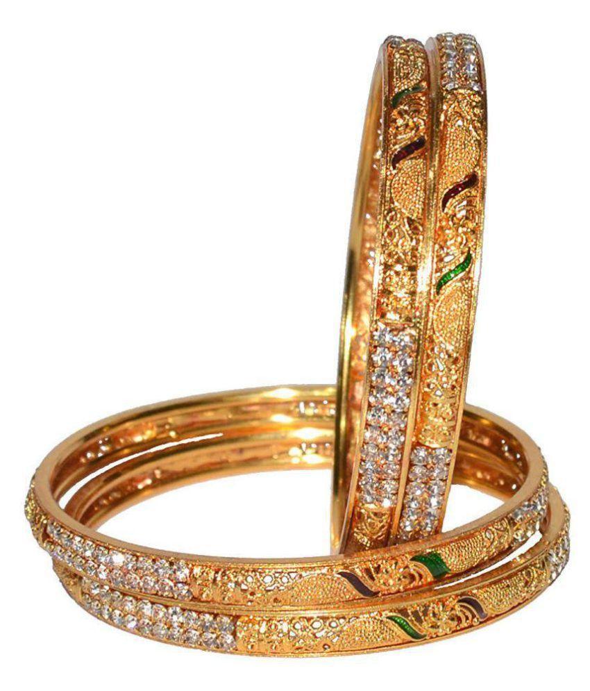 Jewels Kafe Wedding Jewellery Original Style One Gram Gold Plated Bangles for Girls/Women