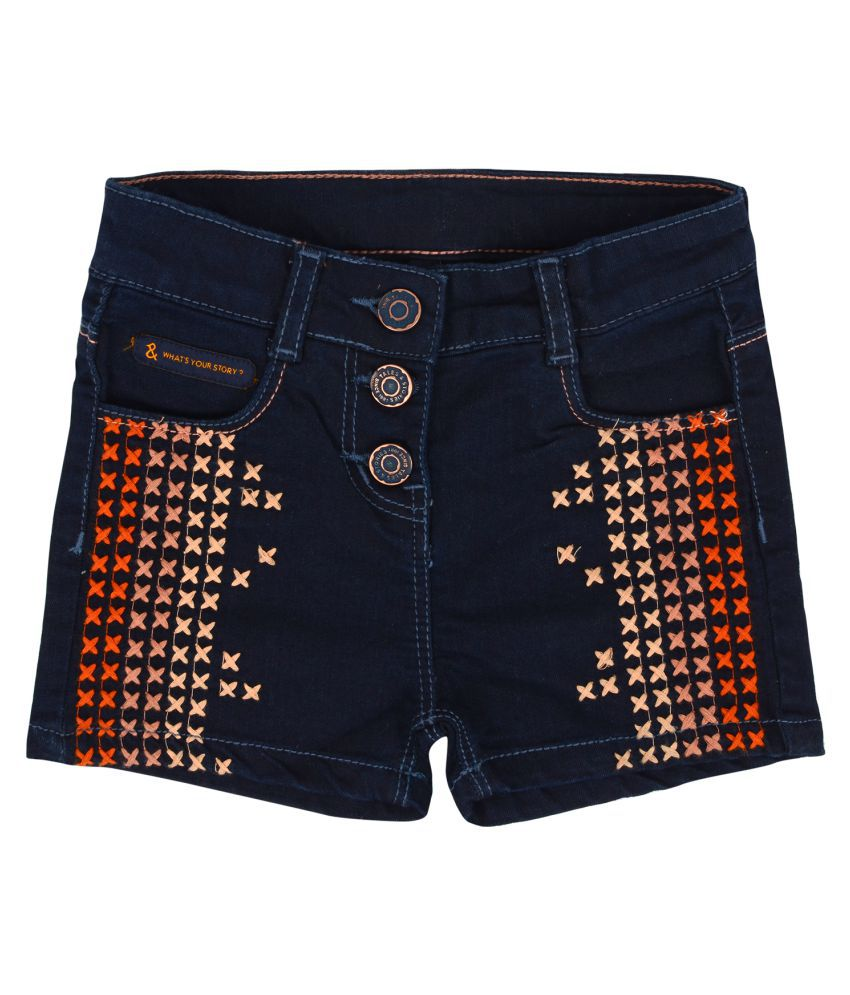 Tales & Stories Denim Embroidered Girls Shorts