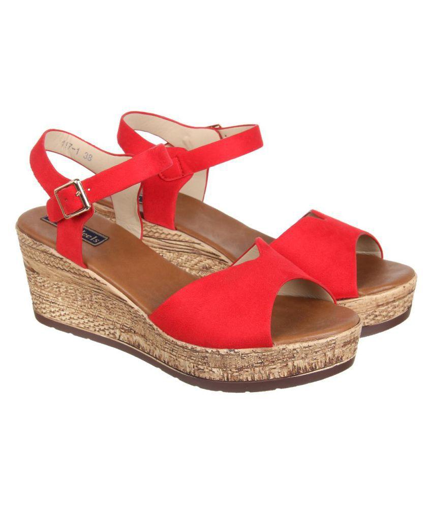 Flat N Heels Red Wedges Heels