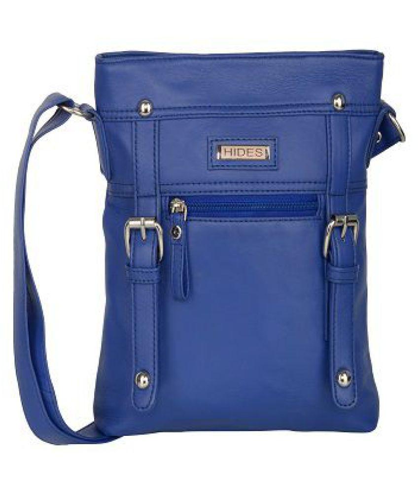 Hides Blue Pure Leather Sling Bag