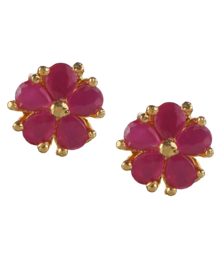Archi Collection Stylish Ethnic Fancy Party Wear Gold Plated Cubic Zirconia Floral Stud Earrings Jewellery Set