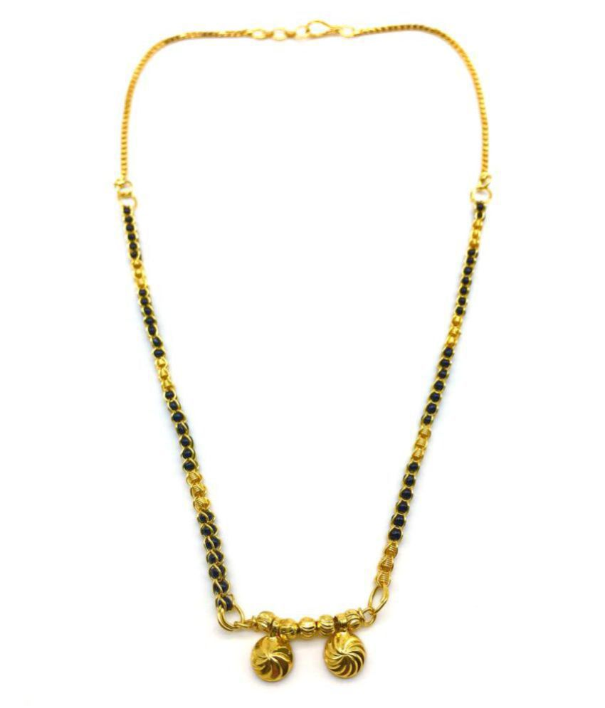 37a25f3dea5a7 Digital Dress Women's Jewellery Gold Plated Mangalsutra Necklace 18-inch  Length Chain Golden Vati Tanmaniya Pendant Traditional Black& Gold Beads ...