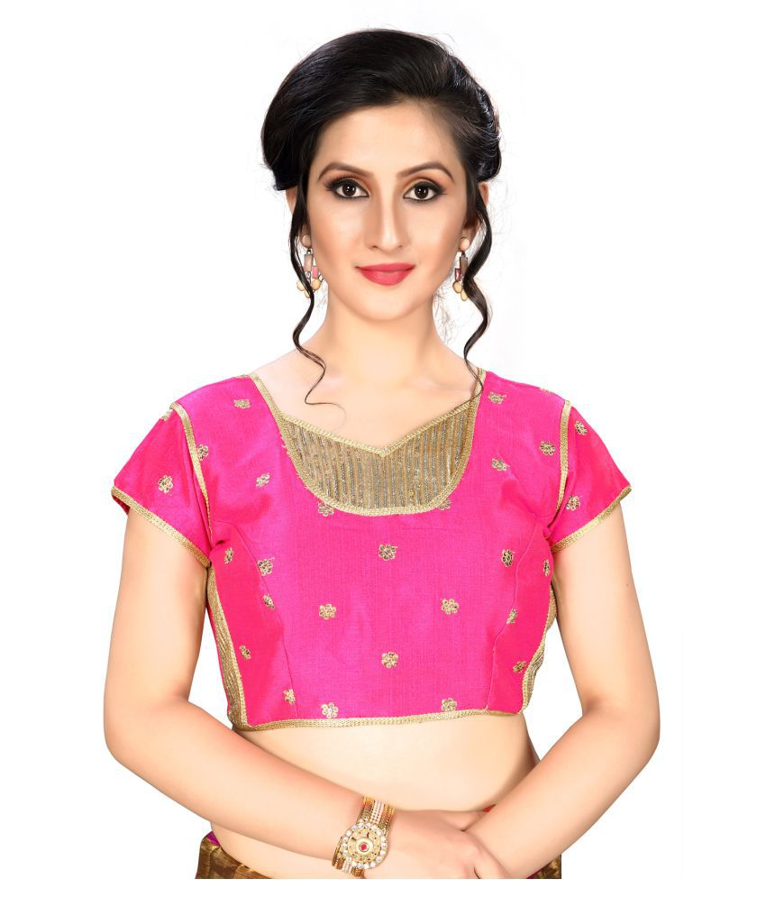 Amrutam Fab Pink Silk Readymade with Pad Blouse
