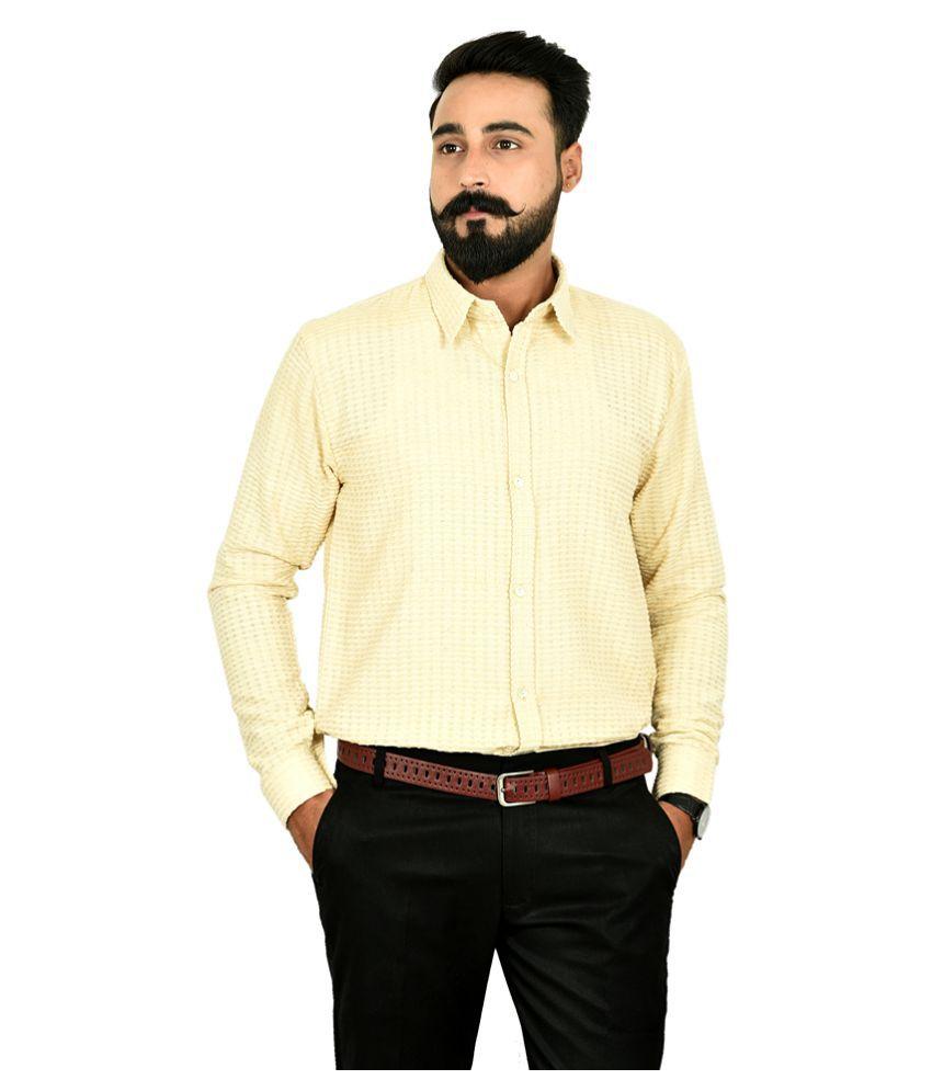 The Fineworld 100 Percent Cotton Off-White Solids Shirt