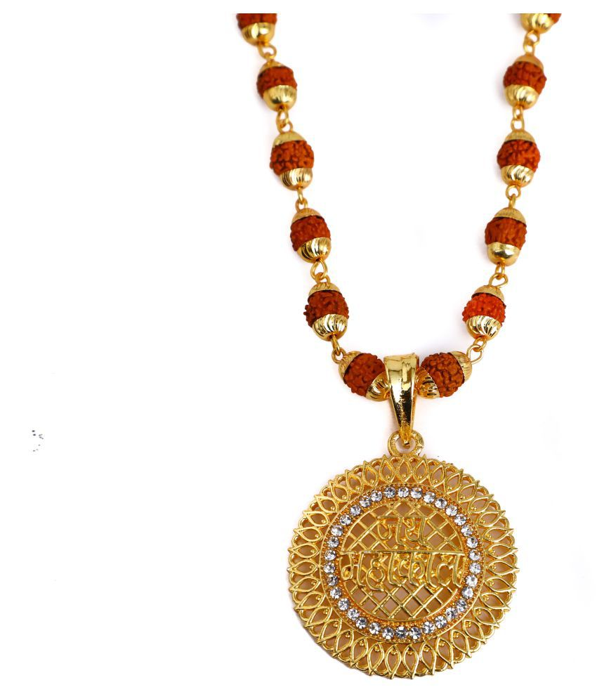 DIPALI Imitation Rudraksh Mala With Gold Plated Inspired Pendant Set For Men BoyS