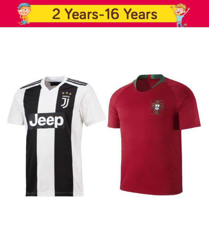 meet f11ed 9937f uniq kids football ronaldo jersey juventus white & portugal red top