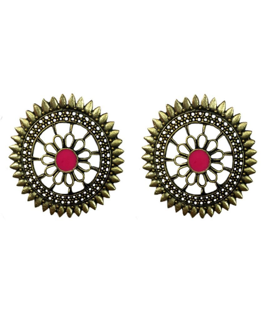 Tiaraa Pink Alloy Golden Floral Stud Fashion Earrings