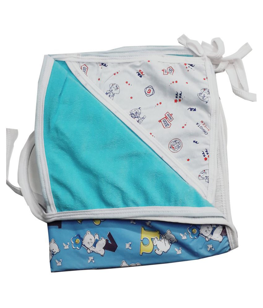 SAASHIKA Blue Cotton Baby Wrap cum blanket ( 67 cm × 53 cm - 1 pcs)