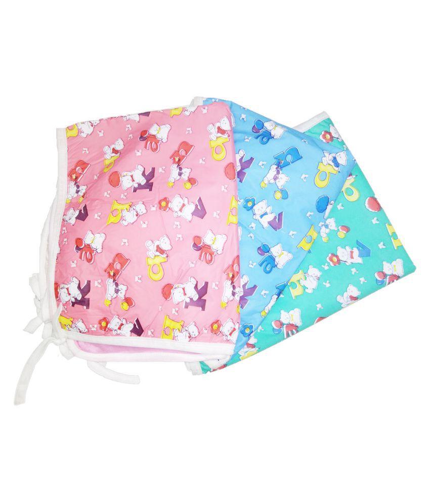 SAASHIKA Multi-Colour Cotton Baby Wrap cum blanket ( 67 cm × 53 cm - 3 pcs)