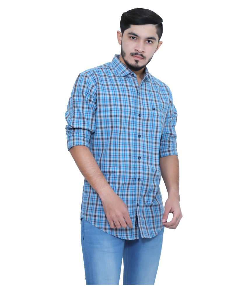 mountwell 100 Percent Cotton Blue Prints Shirt