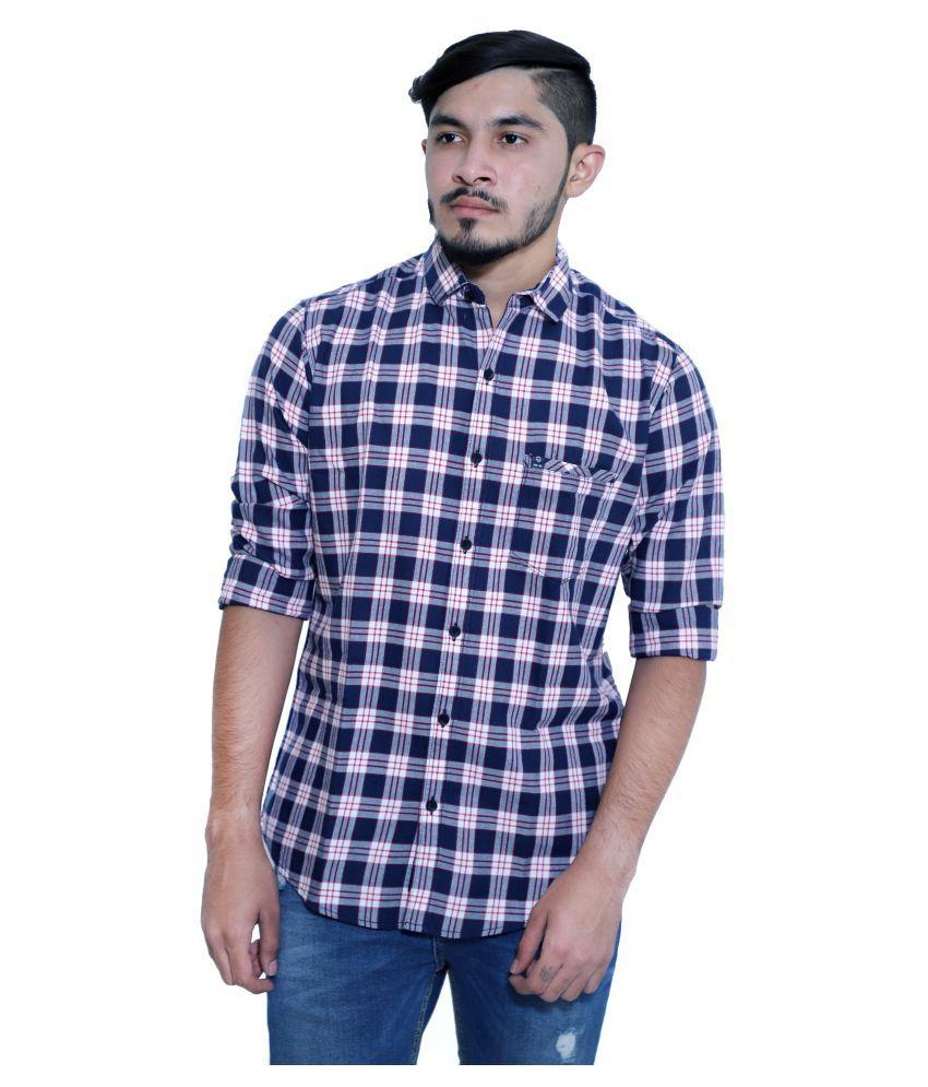 mountwell 100 Percent Cotton Blue Prints Shirt