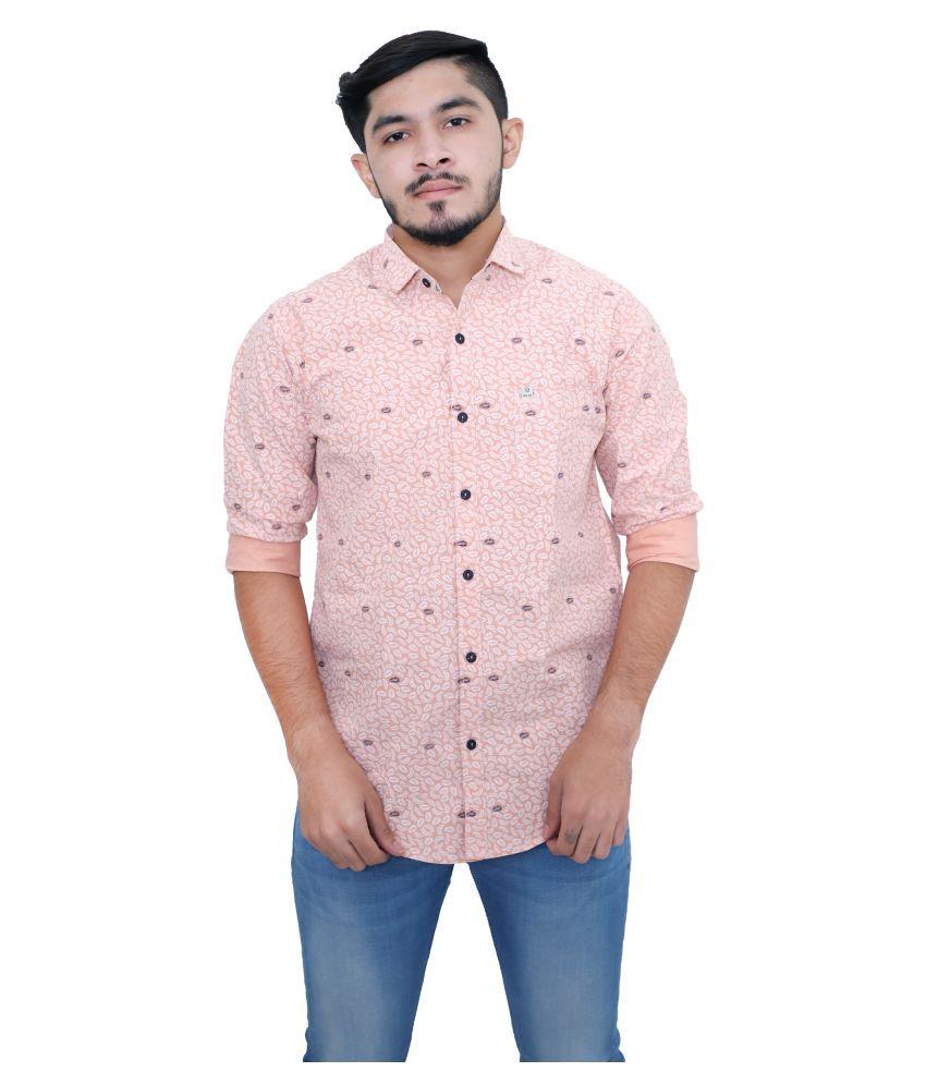 mountwell 100 Percent Cotton Pink Prints Shirt