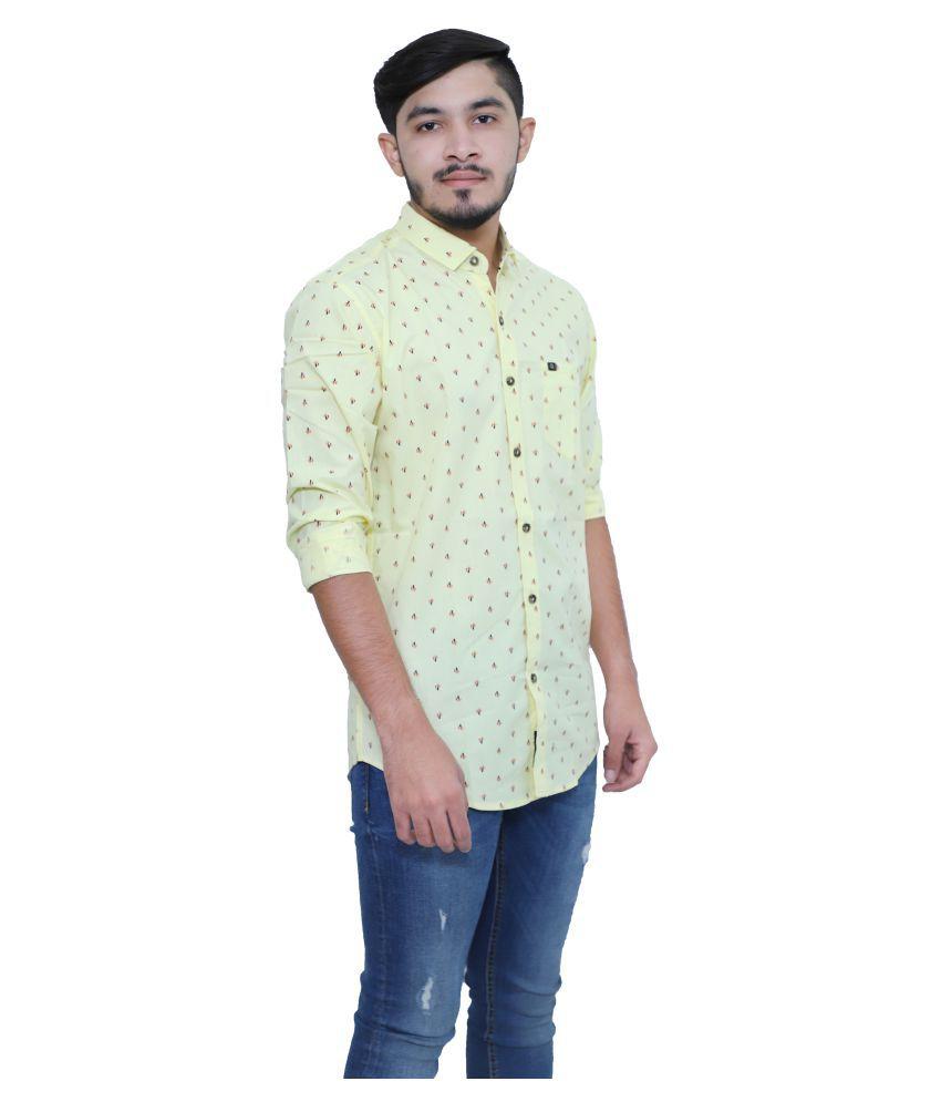 mountwell 100 Percent Cotton Yellow Prints Shirt