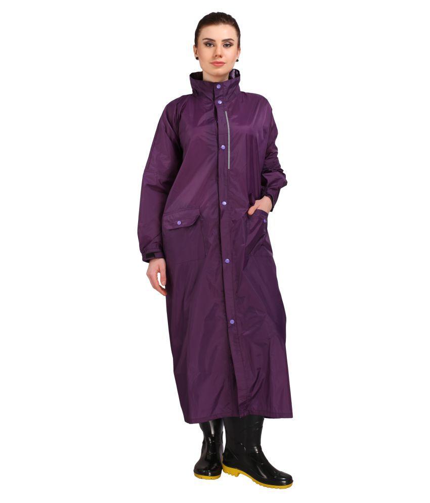 Goodluck Nylon Long Raincoat - Purple