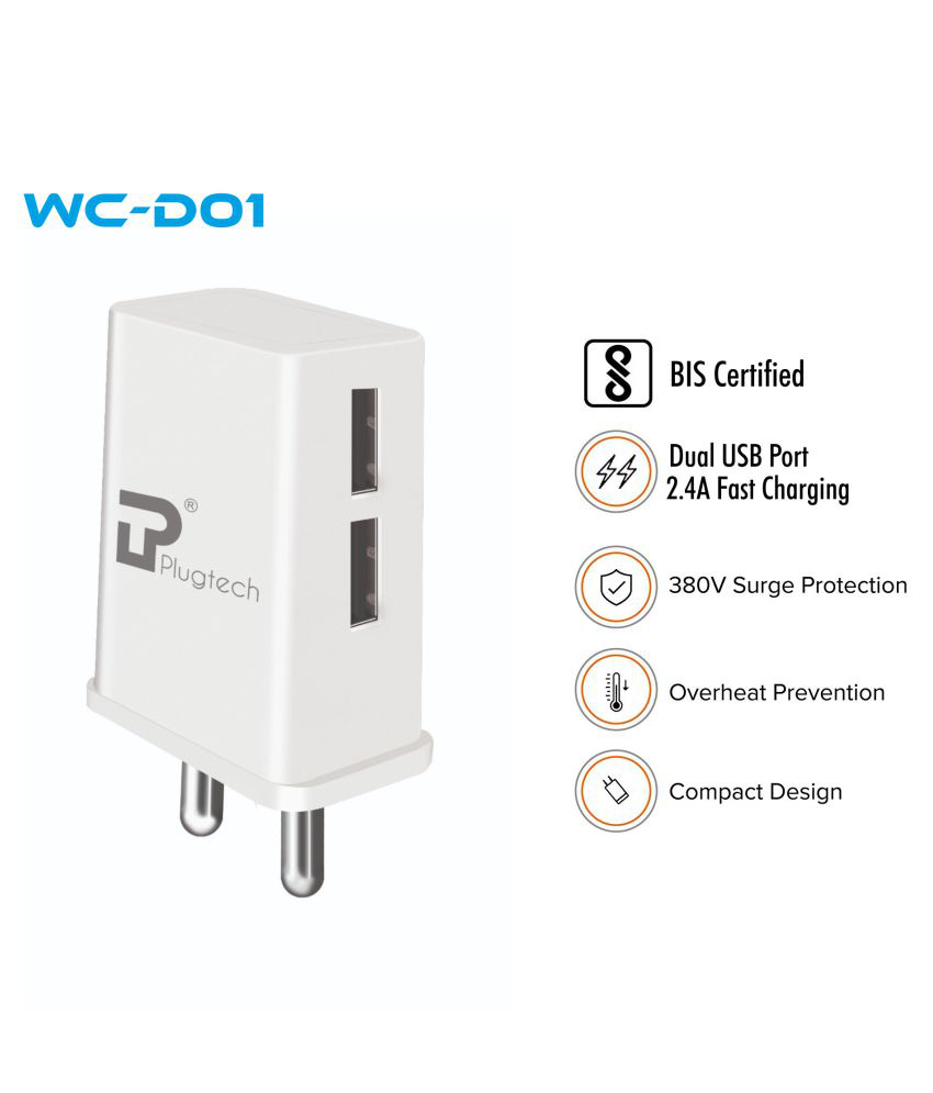 Plugtech 2.4A Wall Charger