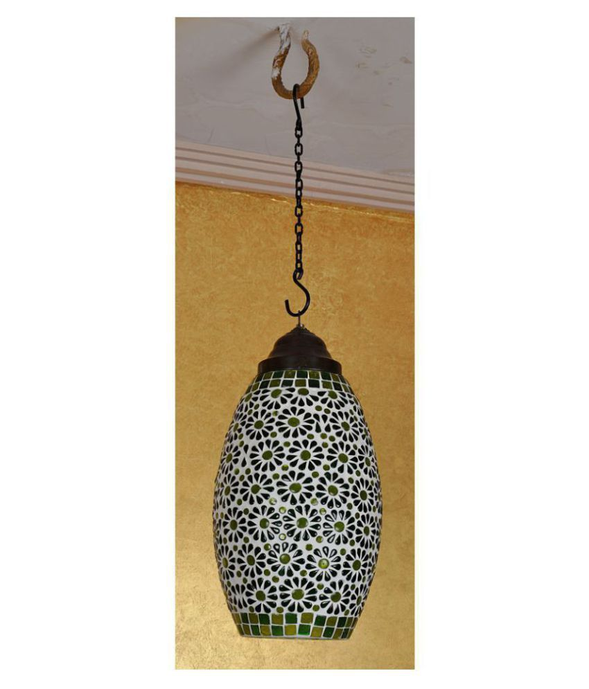 Lal Haveli Glass Glass Hanging Lantern Ceiling Lamp Pendant Green - Pack of 1